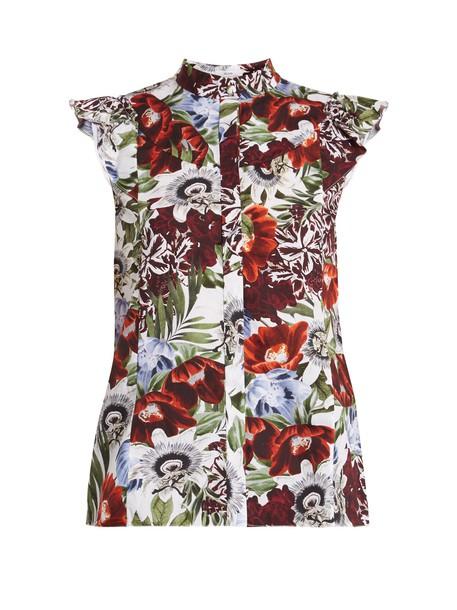 Erdem top floral cotton print red