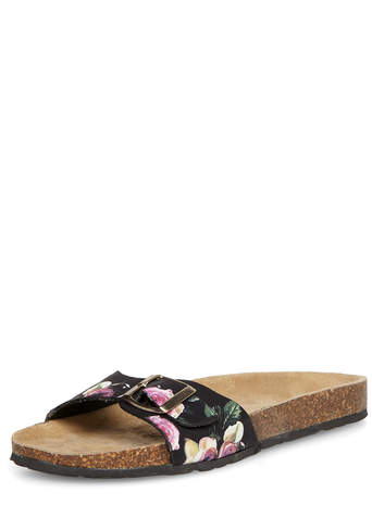 Black floral leather footbeds - Sandals - Shoes - Dorothy Perkins
