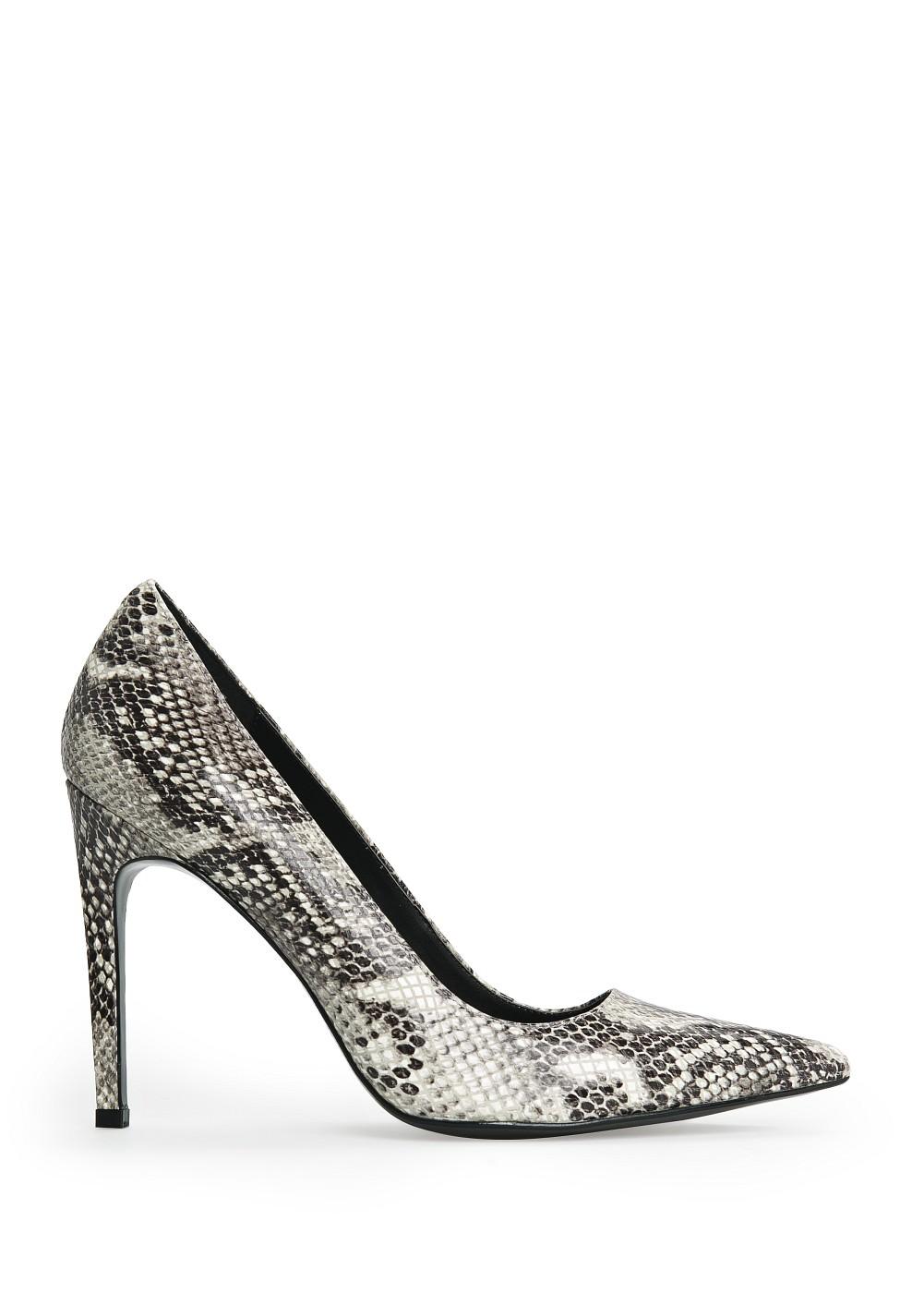 Snakeskin leather stiletto shoes -    Women - MANGO