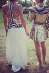 dress,boho,boho chic,coachella,festival,festival dress,white cutout dress,hippie dress,swell dress,gypsy dress,white backless dress,white dress,backless dress
