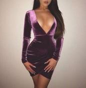 dress,velvet,velvet dress,pink,purple,nightwear,sexy,sexy dress
