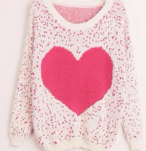 sweater heart shirt winter pink red