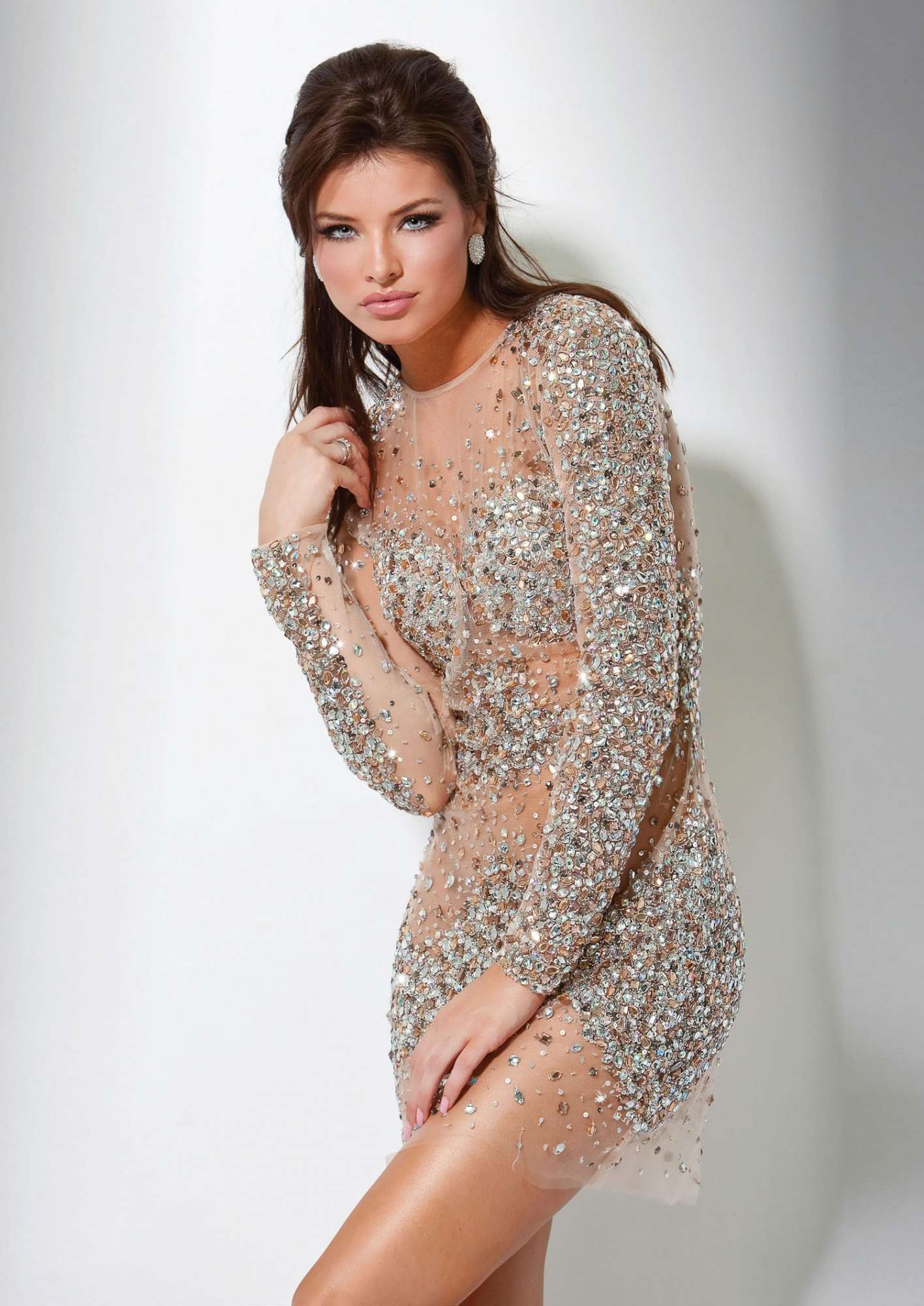 Jovani 7757 - Nude Beaded Sheer Sexy Dresses - RissyRoos.com