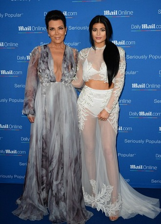 dress gown prom dress kris jenner kardashians kylie jenner plunge v neck
