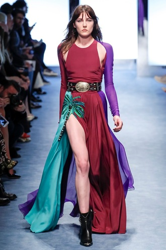 dress fausto puglisi slit dress gown milan fashion week 2016 fashion week 2016 runway maxi dress prom dress belt colorful