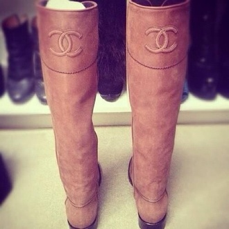 shoes chanel chanel boots brown knee high knee high boots boots