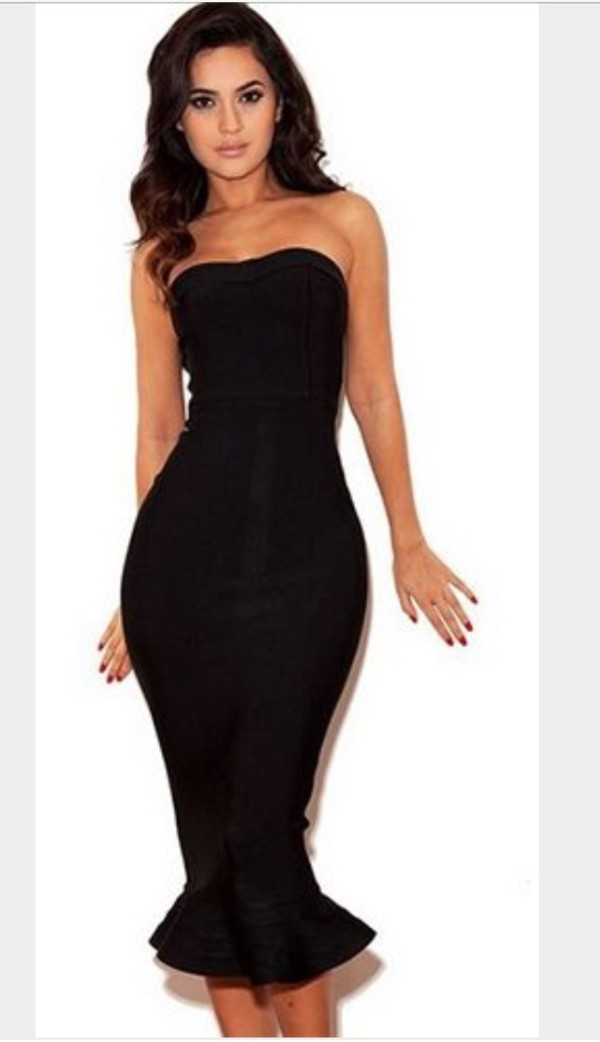 Mermaid Bandeau Bandage Dress Black