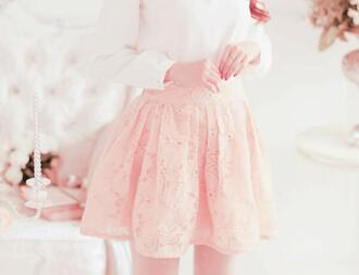 skirt sweater pink baby pink lace lace skirt