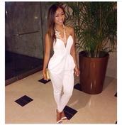 jumpsuit,white,white jumpsuit