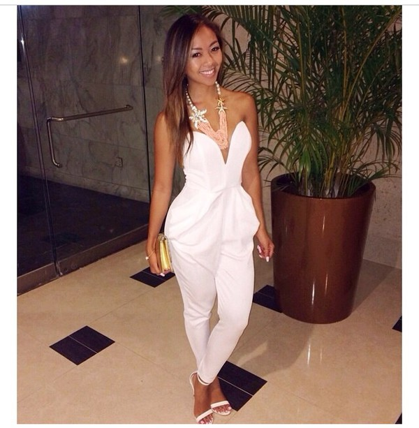 jumpsuit white white jumpsuit