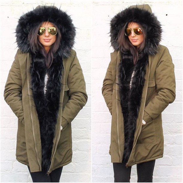 Coat: one nation clothing, parka, black fur parka, fur hood coat ...