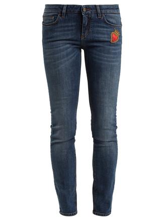 jeans skinny jeans heart embroidered dark blue dark blue