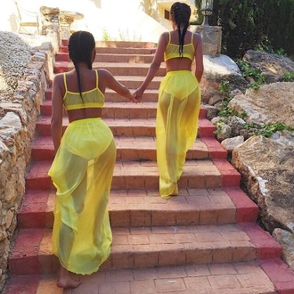 skirt yellow chiffon chiffon bralet skirt & crop top maxi skirt chiffon maxi skirt chiffon skirt two-piece two piece dress set sheer co-ordinates