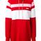 Msgm - stripe panelled hoodie dress with gemstone embellished drawstring - women - cotton/polyamide - xs, red, cotton/polyamide