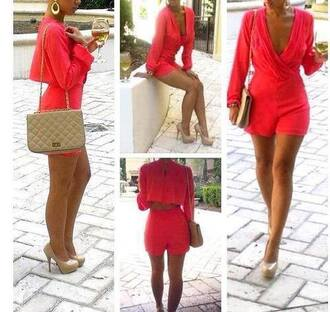 dress jampsuit pink coral fashion chanel style goldf gold shorts romper