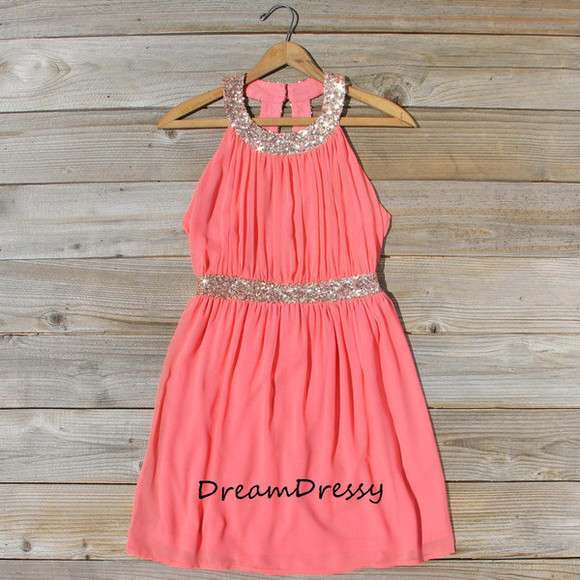 coral dress homecoming dress party dress