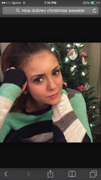 nina dobrev striped sweater knitted sweater