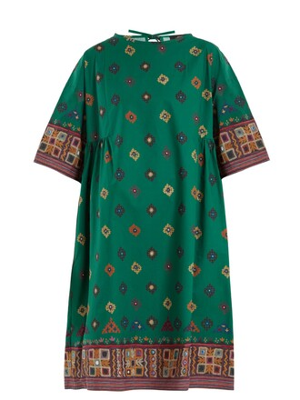 dress cotton print green