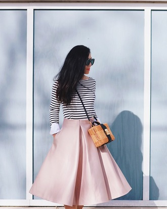 skirt basket bag tumblr pink skirt midi skirt top striped top stripes bag brown bag sunglasses black sunglasses spring outfits