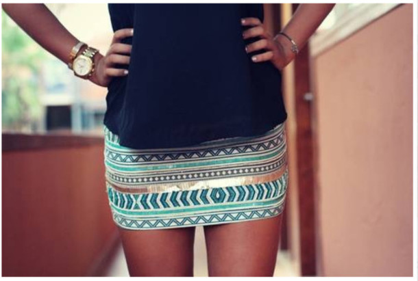 Skirt: striped skirt, blue skirt, silver, watch, blouse, legs ...