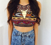 t-shirt,tank top,aztec,colorful,crop tops,jewerly,like,girl,summer,stylish,outfit,wantsomethingsimilar