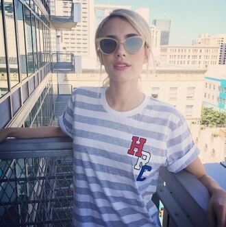 t-shirt emma roberts sunglasses summer summer outfits instagram