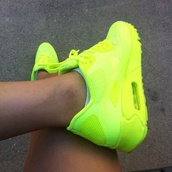 shoes,fluo,vibrant,nike,air max,yellow,nike air force,maxies,fluro yellow,shoes neon,neon yellow,nike running shoes,running neon shoes,green,neon,nike air max 90 hyperfuse,gangsta,neon green,sneakers,neon yellow nike air max 900
