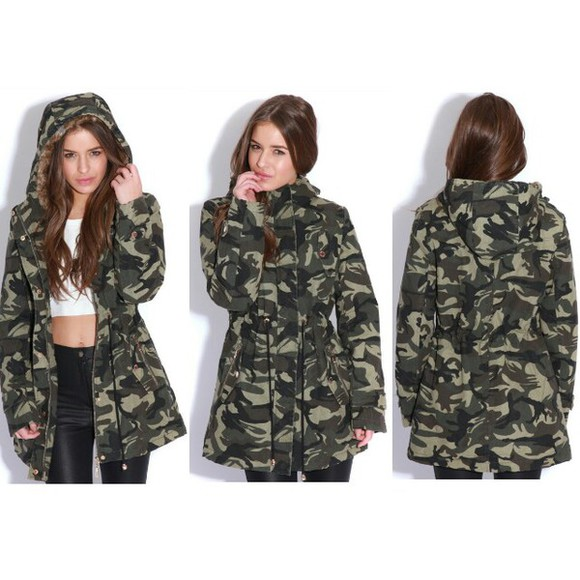winter outfits jacket parka camouflage green military