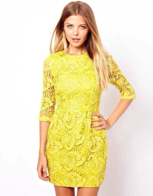 lace dress dress yellow dress