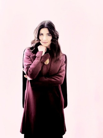 coat cape jacket claret red dark hair marina and the diamonds