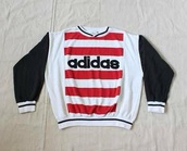 shirt,adidas,long sleeves,red,black,white,top,sweatshirt,vintage