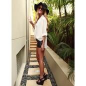 blouse,chiffon,cream,white,shirt,summer,shoes,black wedges