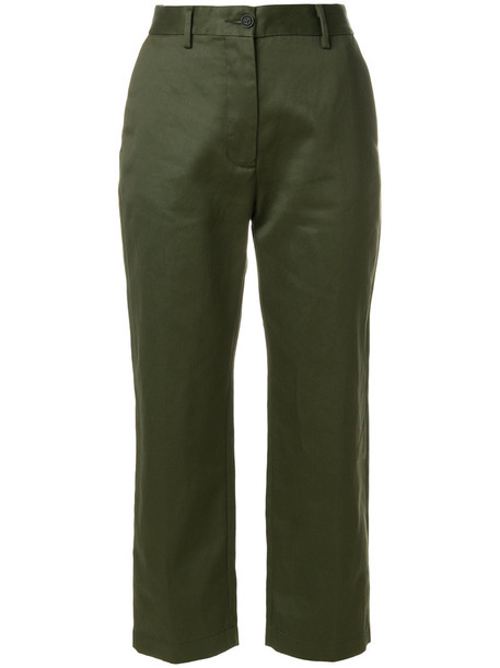 Pence cropped women cotton green pants