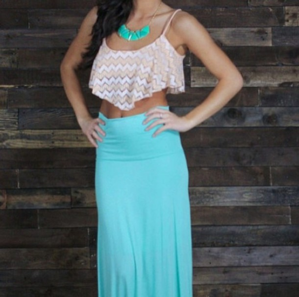 skirt maxi skirt crop tops necklace teal skirt