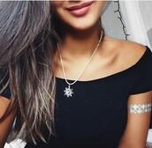jewels,jewelry,necklace,moon and sun,moon,sun,sun necklace,tattoo,fake tattoos,temporary tattoo,metallic tattoo