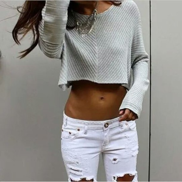 jeans blouse top grey top cropped ripped jeans white jeans white ripped jeans sweater grey shirt short top cropped sweater t-shirt grey sweater