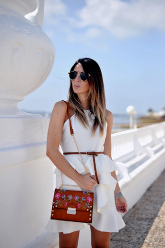 dress brown bag belt tumblr mini dress white dress ruffle ruffle dress bag sunglasses