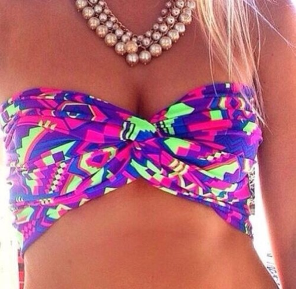swimwear bikini bikini top neon summer