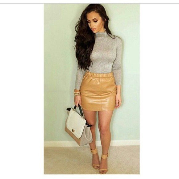 skirt bag top fashion nude style leather skirt fall sweater fall outfits mini skirt camel winter sweater winter outfits