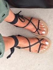 shoes,black,laces,strappy,flat sandals,gladiators