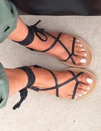 shoes black laces strappy flat sandals gladiators