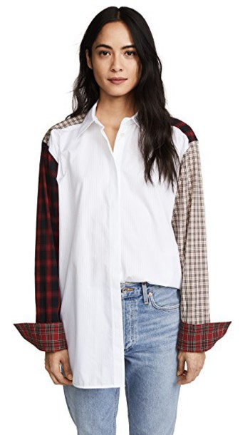 shirt patchwork plaid white top