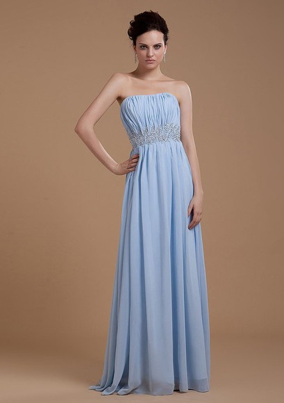 strapless chiffon a-line sky blue ruched empire