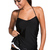 Black Halter Ruffled Two Piece Tankini Swimsuit