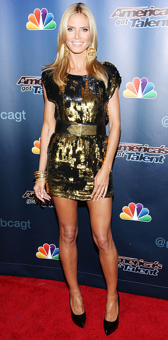 america's got talent post-show heidi klum sequined dress black pumps