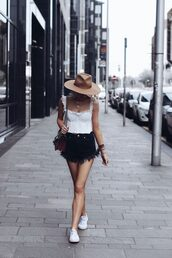 shorts,black shorts,top,shoes,white sneakers,white top,bags and purses,sneakers,hair accessory