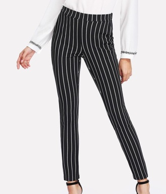 pants girly black black trousers stripes black and white white high waisted