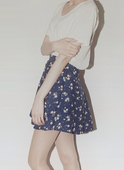 blue cute shirt skirt high waisted skirt floral