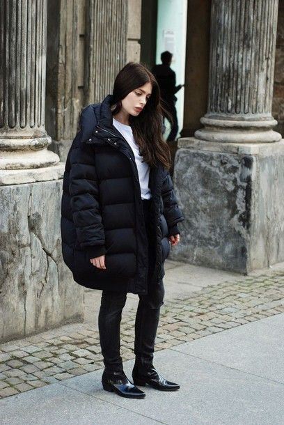 Jacket Tumblr Black Jacket Puffer Jacket Top White