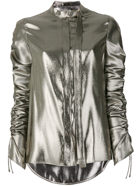 Versace - ruched detail blouse - women - Silk/Polyester - 38, Grey, Silk/Polyester in metallic